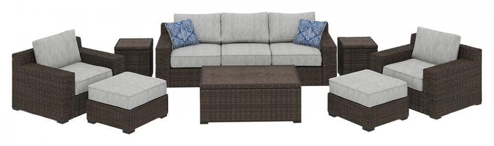Alta grande 8 piece outdoor set p782p6 701 702 814 820 - 8 piece living room furniture set ...