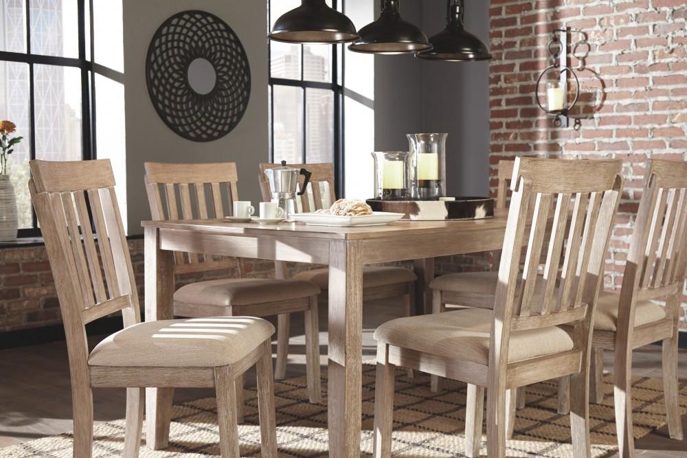 Mattilone White Wash Gray Dining Room Table Set 7 Cn