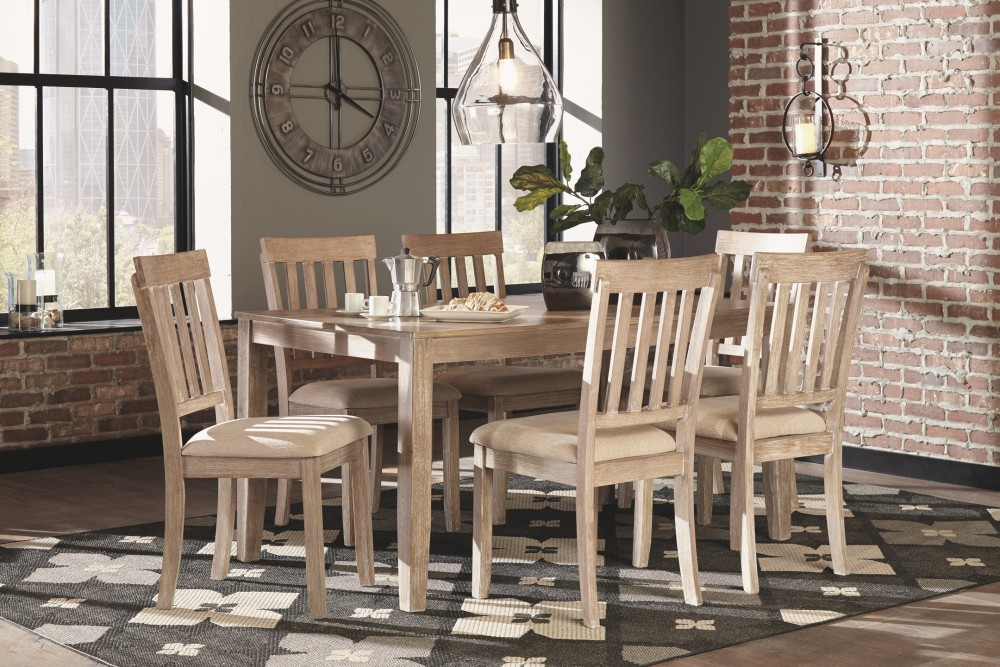 Mattilone White Wash Gray Dining Room Table Set 7 Cn