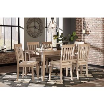 Mattilone - White Wash Gray - Dining Room Table Set (7/CN)