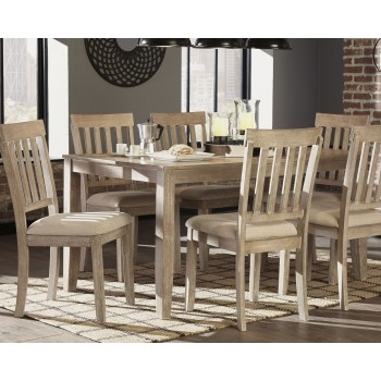 Mattilone - White Wash Gray - Dining Room Table Set (7/CN)