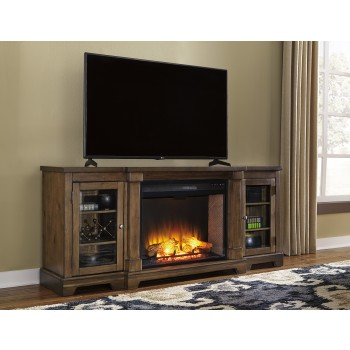 Flynnter Medium Brown TV Stand with Fireplace