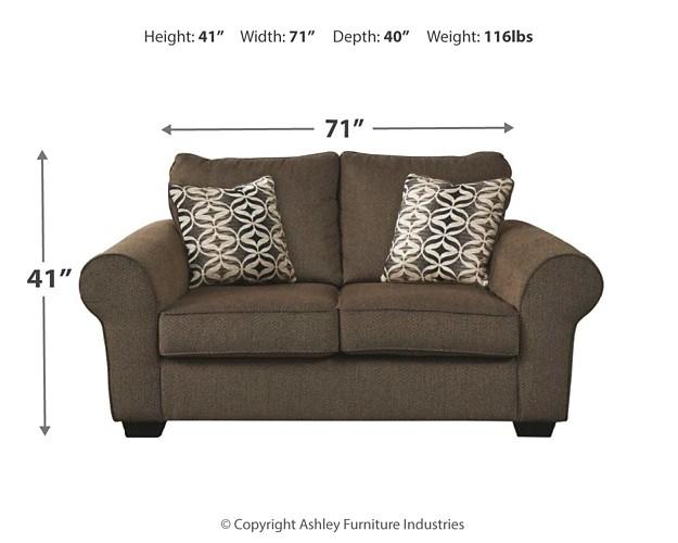 nesso walnut loveseat 4910235 love seats. Black Bedroom Furniture Sets. Home Design Ideas