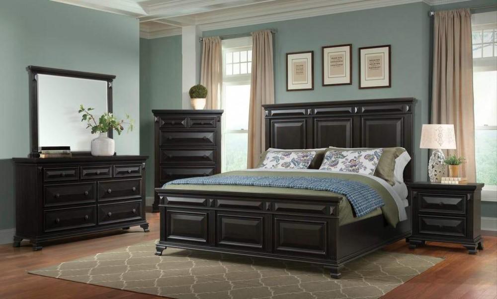 Moondance Black 4pc Queen Bedroom Dresser Mirror Nightstand Bed