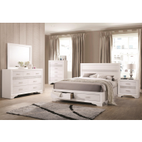 Sandy White 4pc King Bedroom - Dresser, Mirror, Nightstand, Bed