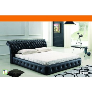Black Leather Tufted Queen Bed