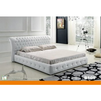 White Leather Tufted Platform Queen Bed