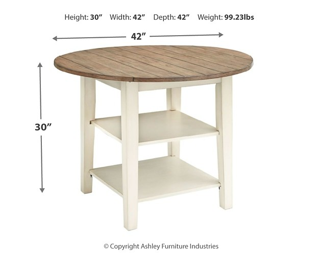 Bardilyn Antique White Brown Round Drm Drop Leaf Table