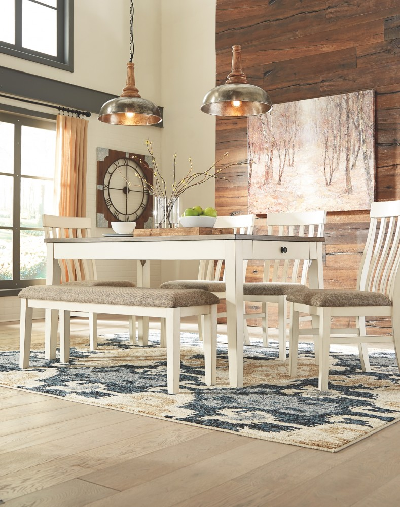 Bardilyn - Antique White/Brown - Rectangular Dining Room Table