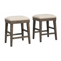 Wyndahl - Rustic Brown - Upholstered Stool (2/CN)
