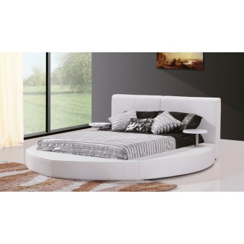 White Leather Contemporary Round Bed Queen
