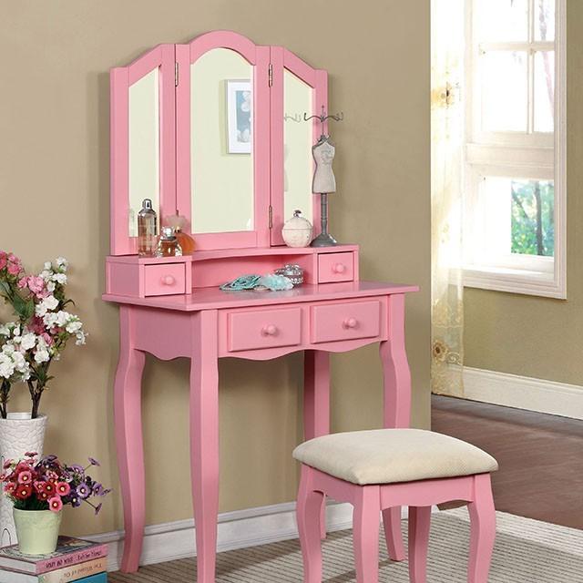 Janelle - VANITY W/ STOOL, Pink