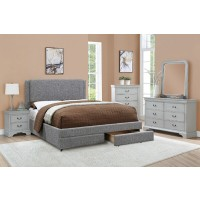 Grey Linen Avery Queen Bed with Double Storage Drawer