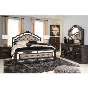 Quinshire - Dark Brown - 6 Pc., Queen 3 Pc. Bed, Dresser, Mirror & Nightstand