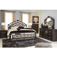 Quinshire - Dark Brown - 6 Pc., Queen 3 Pc. Bed, Dresser, Mirror & Nightstand