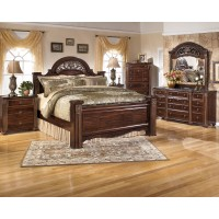Gabriela 6 Pc. Bedroom - 3 Pc. Queen Poster Bed, Dresser, Mirror & 3 Drawer Nightstand