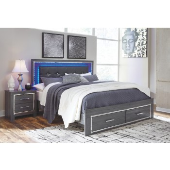Lodanna - King Panel Bed with 2 Storage Drawers