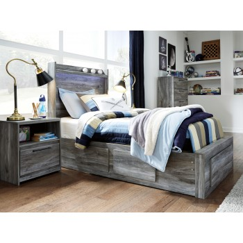 Baystorm - Baystorm Twin Panel Bed with 3 Storage Drawers