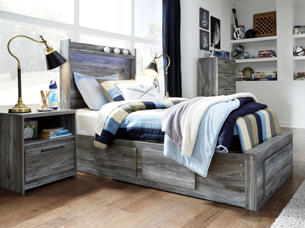 Baystorm - Twin Panel Bed with 3 Storage Drawers