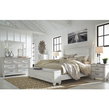 Kanwyn - California King Panel Bed with Storage Bench