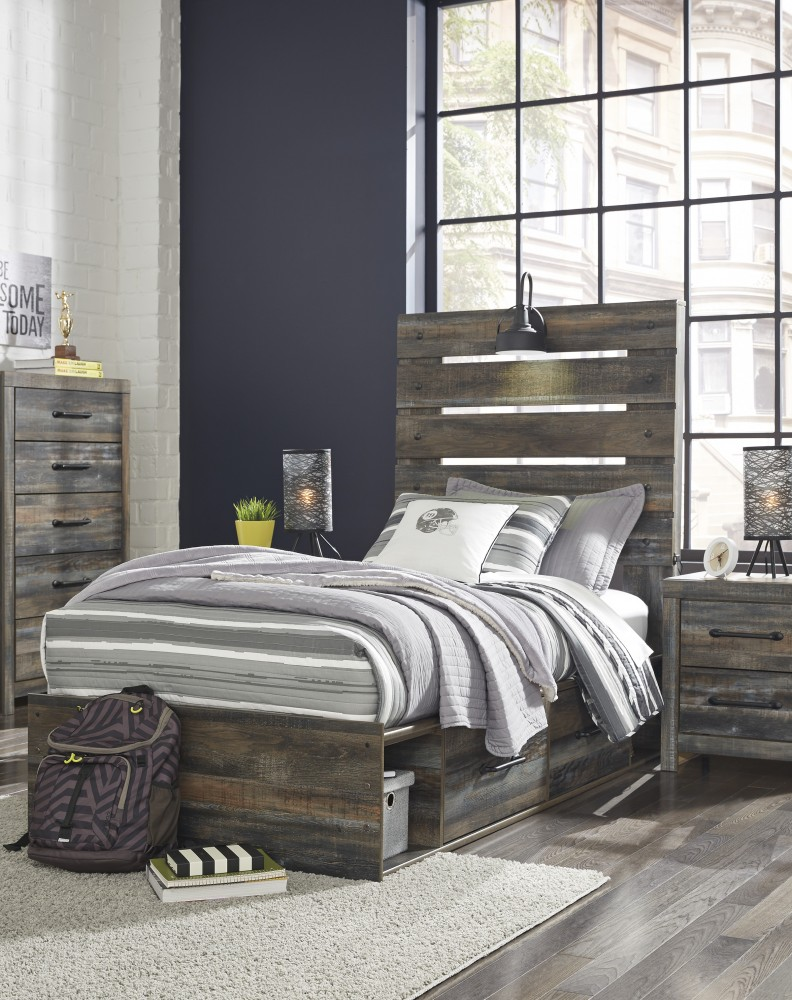 Drystan - Drystan Twin Panel Bed with 4-Storage