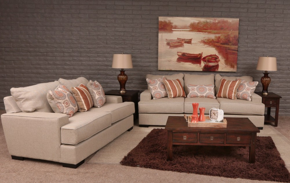Falcon 2-Piece Sofa and Loveseat (Diesel Flax)
