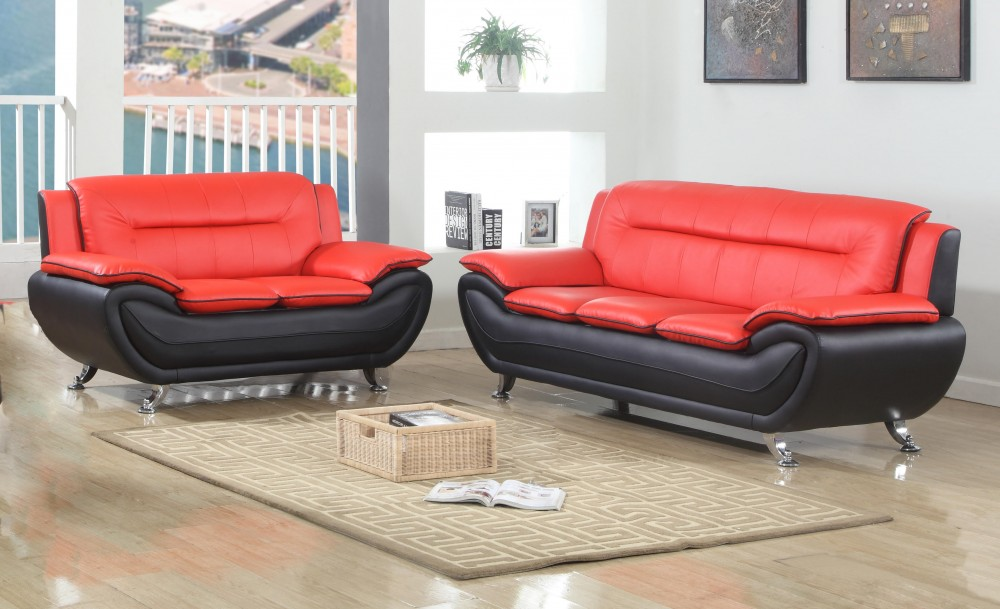 Black & Red Sofa & Love | SC076 - Red & Black | Living Room Sets ...