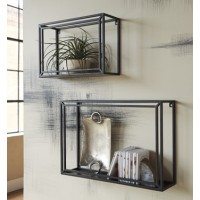 Ehren - Black - Wall Shelf Set (2/CN)