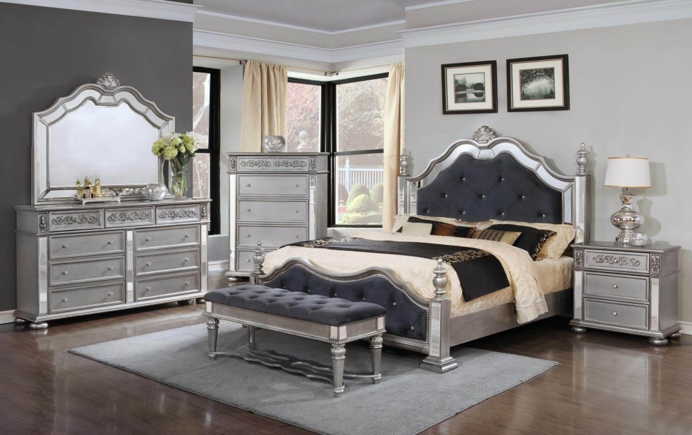Diana Silver Bedroom Dresser Mirror Queen Bed B878 Bedroom Sets Price Busters Furniture