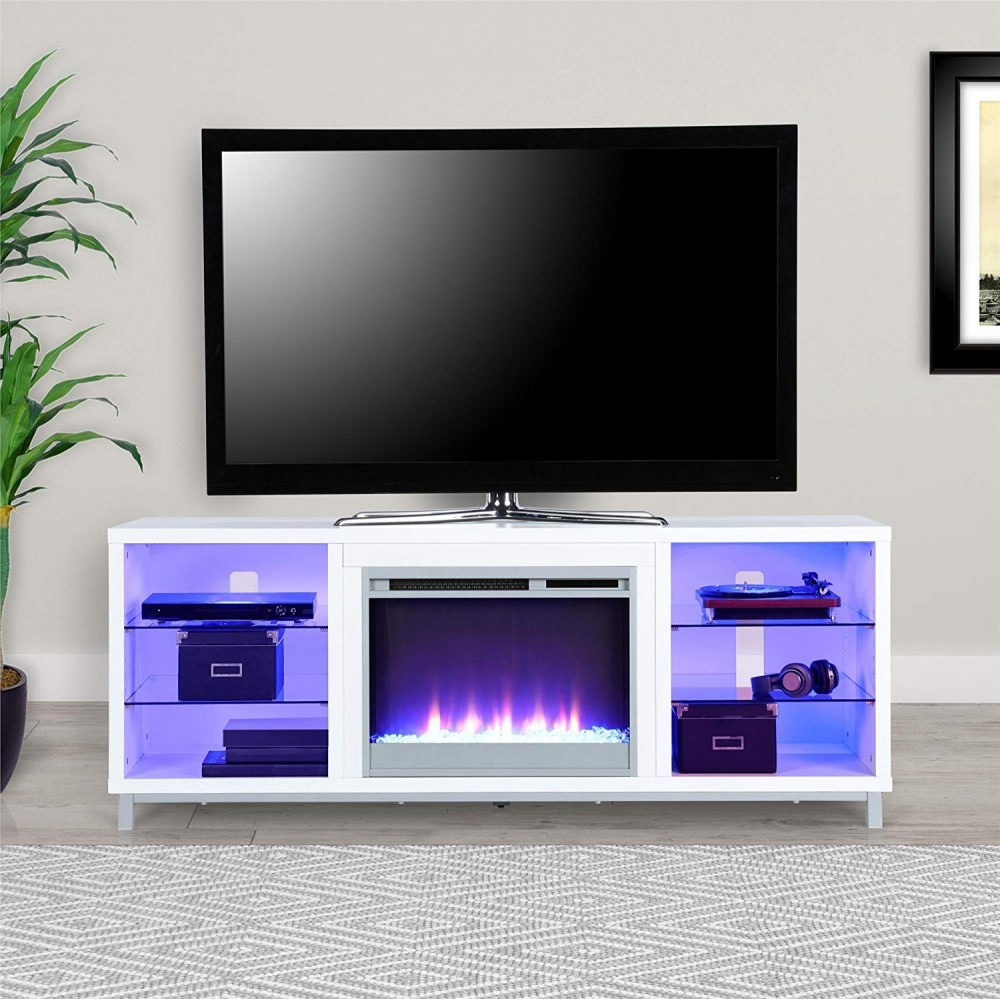 Tv Stand with fireplace!  LED LIGHTS (white)