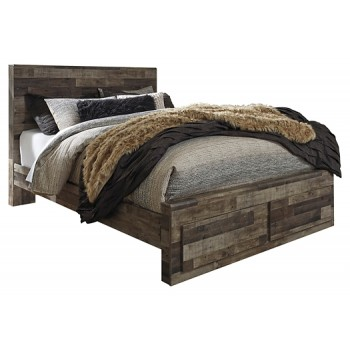 Derekson - Queen Panel Bed with 2 Storage Drawers