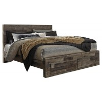 Derekson - King Panel Bed with 2 Storage Drawers