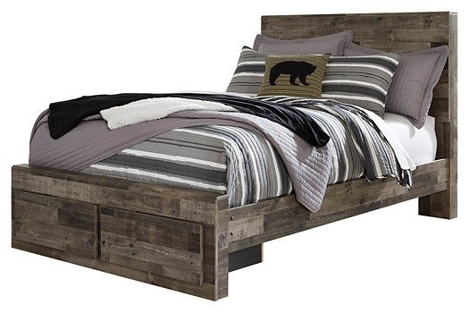 Derekson - Full Panel Bed with 2 Storage Drawers