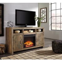 Sommerford - Large TV Stand with Fireplace Insert