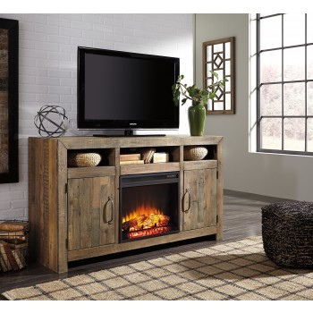 Sommerford - Sommerford Large TV Stand with Fireplace Insert