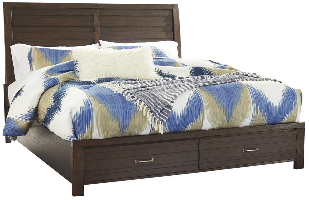 Darbry - King Panel Bed with 2 Storage Drawers