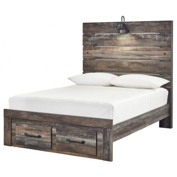 Drystan - Full Panel Bed with 2 Storage Drawers
