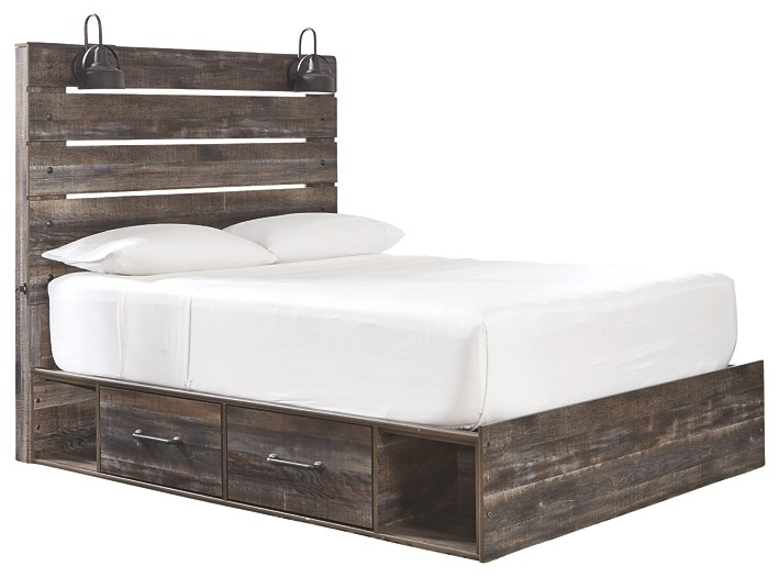 Drystan - Queen Panel Bed with 2 Storage Drawers