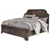 Adinton - King Panel Bed with 2 Storage Drawers