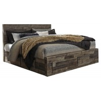 Derekson - King Panel Bed with 4 Storage Drawers