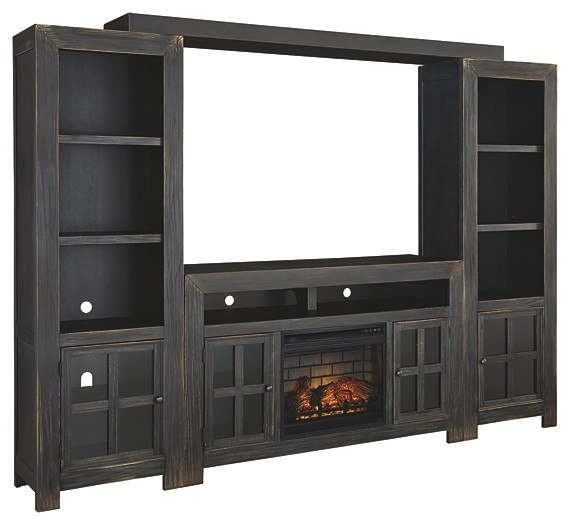 Gavelston - 4-Piece Entertainment Center with Electric Fireplace