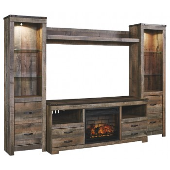 Trinell - 4-Piece Entertainment Center with Electric Fireplace