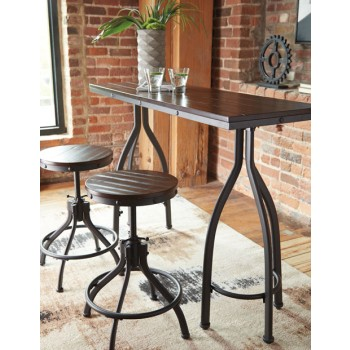 Odium - Rustic Brown RECT Counter Table & 2 Chairs