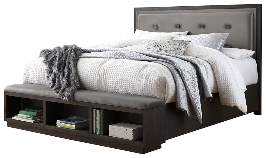 Hyndell - California King Upholstered Panel Bed with Storage