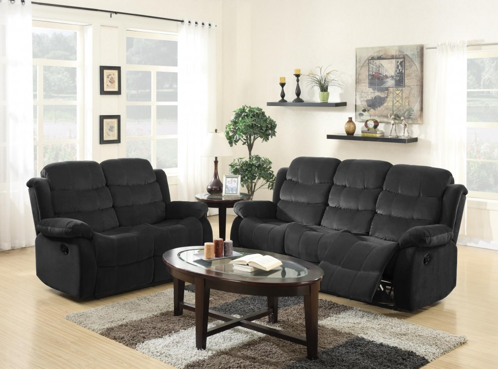 Admirable Black Microfiber Reclining Sofa Love Gamerscity Chair Design For Home Gamerscityorg