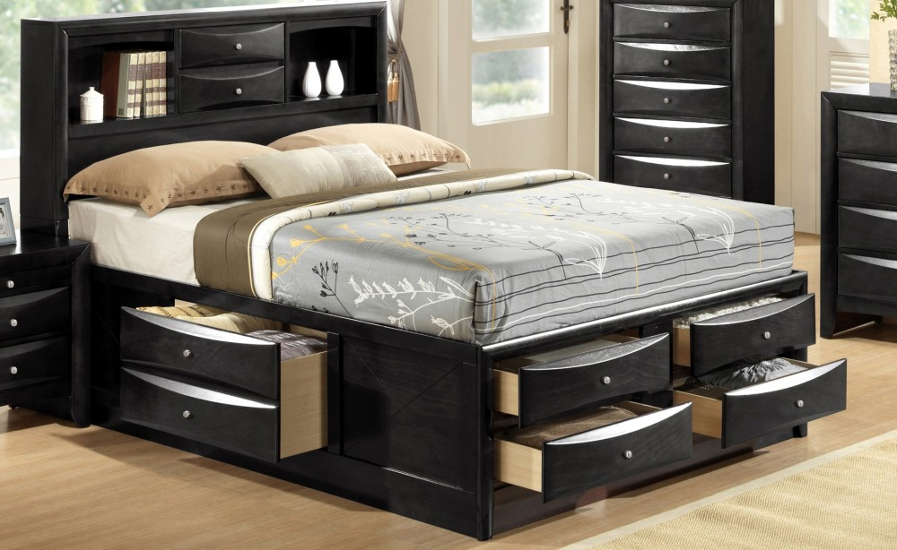 Book Shelf Captains Bed W/8 Drawers Black