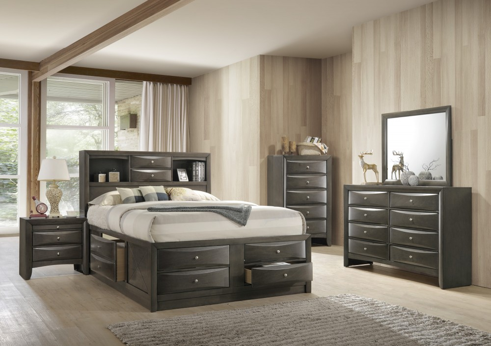 Dresser Mirror Queen Captains Bed W 8 Drawers Grey 4275 Set Grey Bedroom Sets Price
