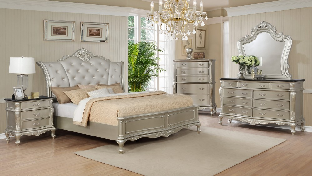 Marble Top Dresser, Mirror, Queen Bed | 1020 - Set | Bedroom Sets ...