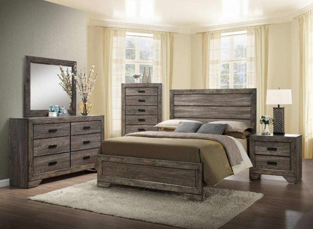 Nathan 4PC. Bedroom Dresser, Mirror, Queen Bed and Night Stand