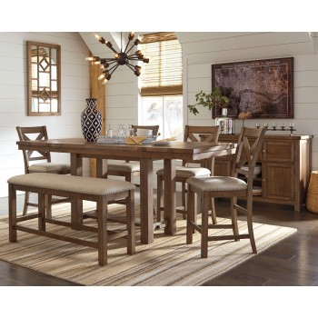 Moriville - Counter Height Dining Table and 4 Barstools and Bench with Storage